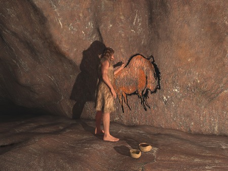 primitive: Caveman painting in a cave Stock Photo