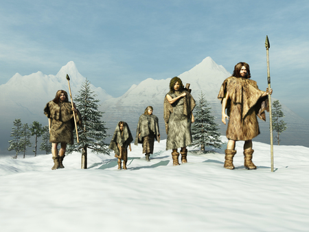 hombre prehistorico: La gente de la Edad de Hielo Foto de archivo