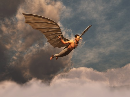 man flying: Winged man flying Stock Photo
