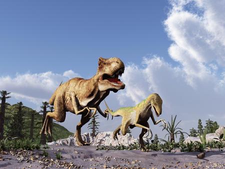 tyrannosaurus rex: Tyrannosaurus rex chasing a velociraptor