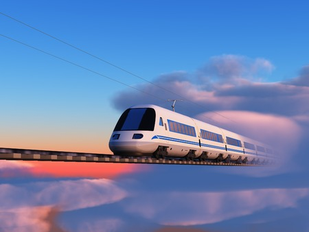 High speed train in the sky Stock Photo