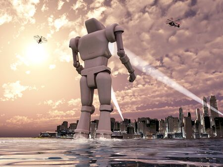Giant robot coming to a city by the sea