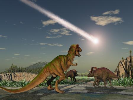 공룡을 멸종 소행성 스톡 콘텐츠
