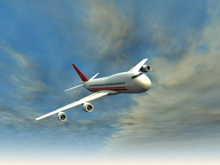 airliner: Airliner flying in the clouds 3d