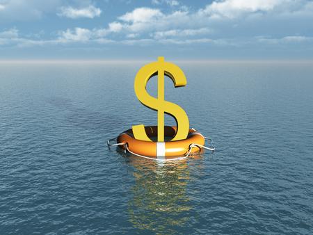 lifebelt: Money symbol at sea with lifebelt Stock Photo