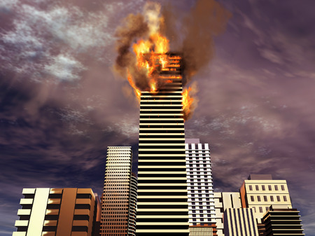 conflagration: Building on fire Stock Photo