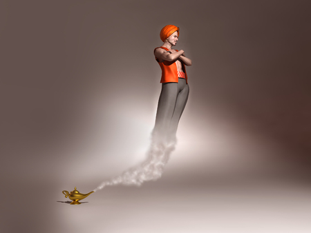 3d illustration of a genie coming out of a lamp
