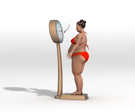 3D rendering of an obese woman standing on a weighing scale