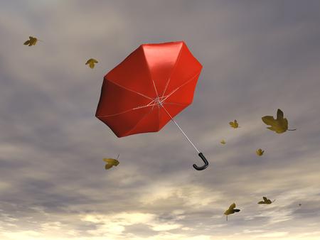 바람에 부는 우산