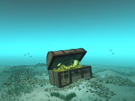 Treasure chest under the sea