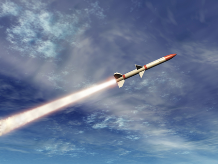 3d illustration of a missile in the sky