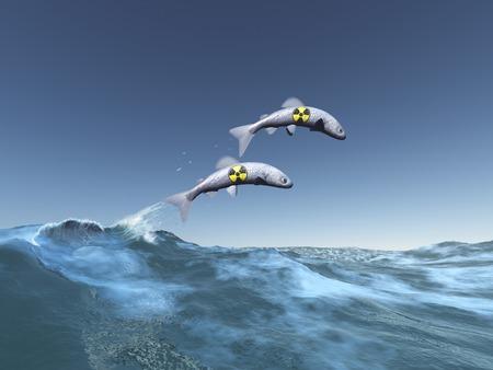 contaminated: Radioactive fish Stock Photo