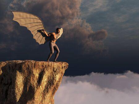 plateau: winged man Stock Photo