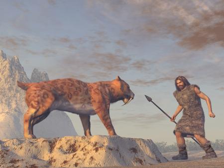 Saber Tooth Tiger y hombre de las cavernas Foto de archivo - 67837543