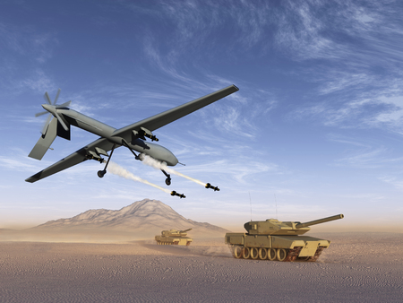 Drone attack battle tanks Banque d'images