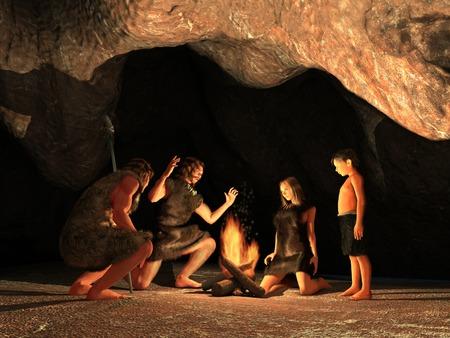 Cave Dwellers Gathered around a campfire Standard-Bild