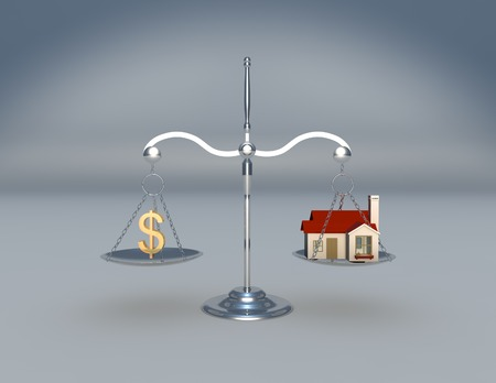 Scale with money symbol and house