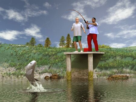dock: Catching a big fish