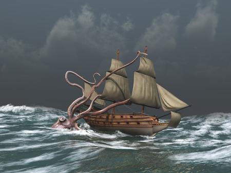 크라켄은 고대의 배를 공격 스톡 콘텐츠