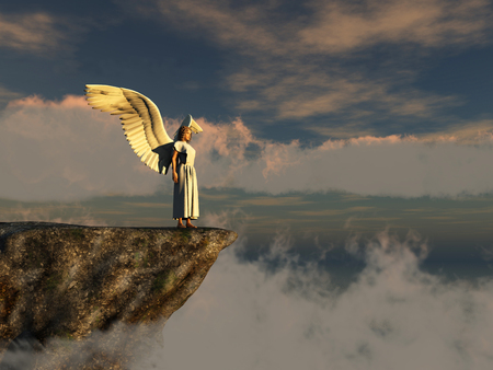 Winged woman on the edge of a cliff