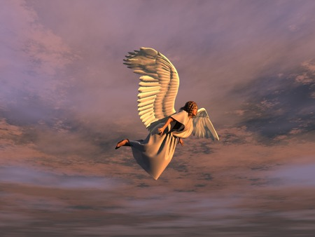 Flying winged woman Stock Photo