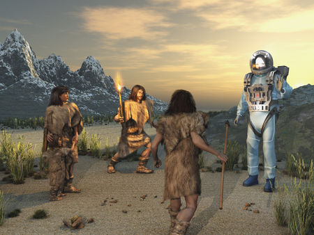 Early humans and an alien visitor Stock Photo