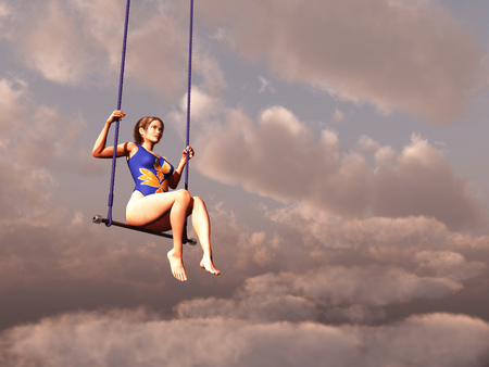 Trapeze woman in the clouds