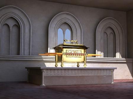 Arche des Bundes auf einem Altar Standard-Bild