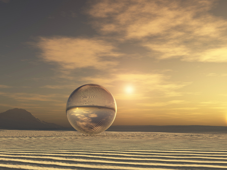 Glass sphere in a desert landscape