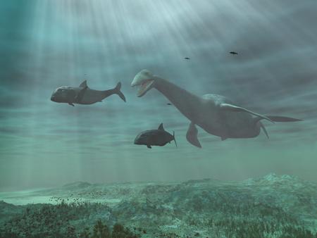 Plesiosaur 물고기를 쫓는 스톡 콘텐츠