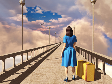 Woman with a suitcase on a bridge Stock Photo