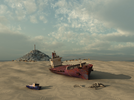Ship in a dried either
