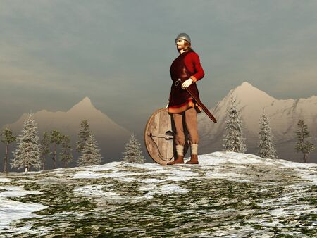 period costume: 3d illustration of a Viking