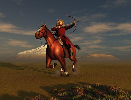 mongolia horse: Mongol warrior Stock Photo