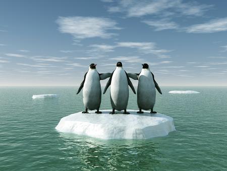 Three penguins on an ice floe