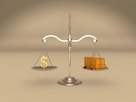 sell: Scale with money symbol and container