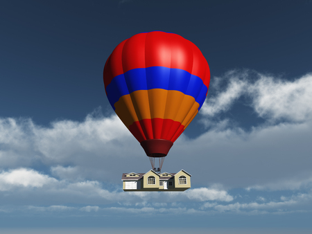House held in the air by a balloon