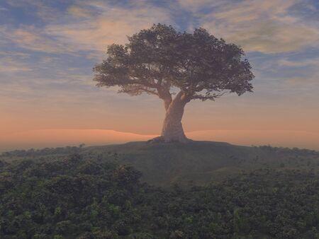 3d illustration of a giant tree Standard-Bild
