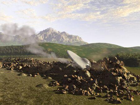 UFO crashed on Earth 版權商用圖片