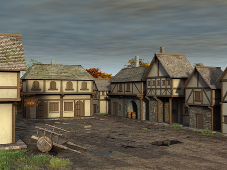 3d illustration of a medieval village