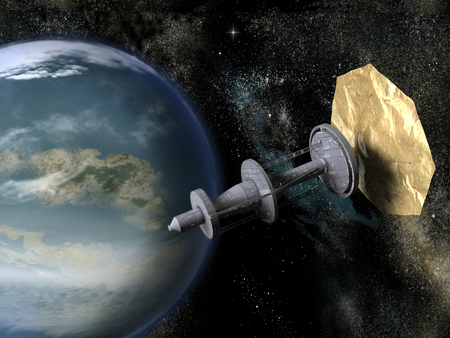 Spacecraft with solar sail near a planet