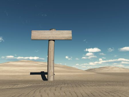 Wooden sign in the desert