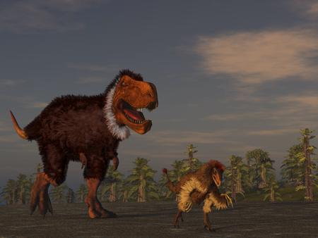 깃털 공룡의 3d 일러스트