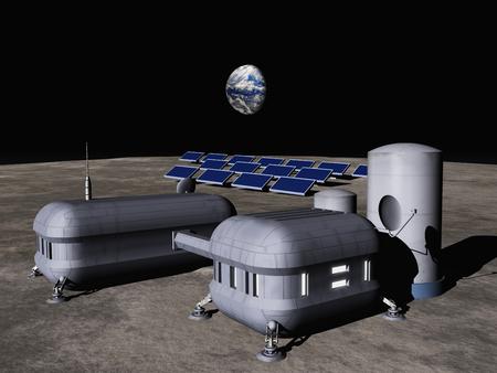달 기지의 3d 일러스트