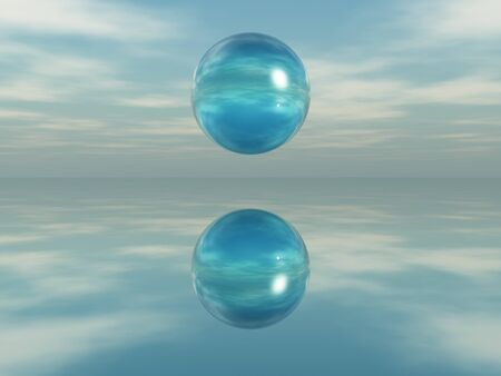 Sphere reflected on a mirrored surface