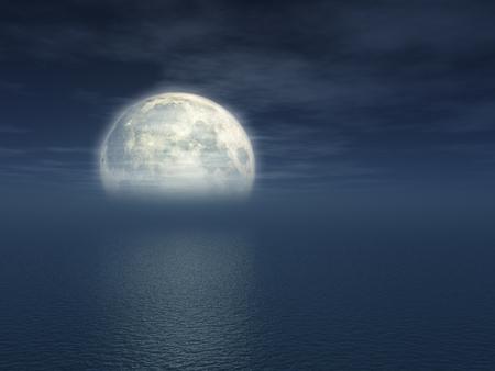 보름달 바다에 반영