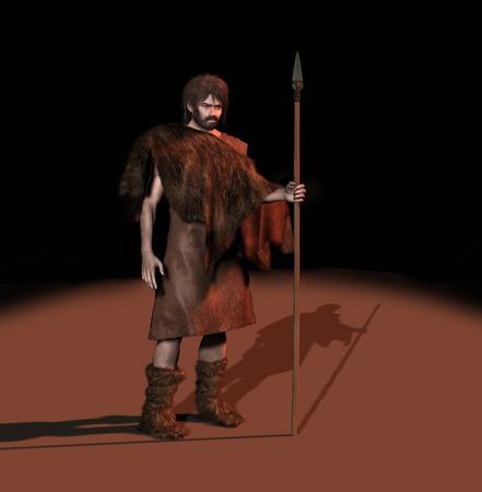 선사 시대 사람의 3d 일러스트