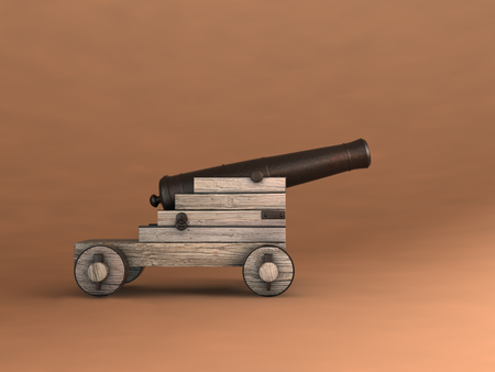 3d illustration of an old cannon