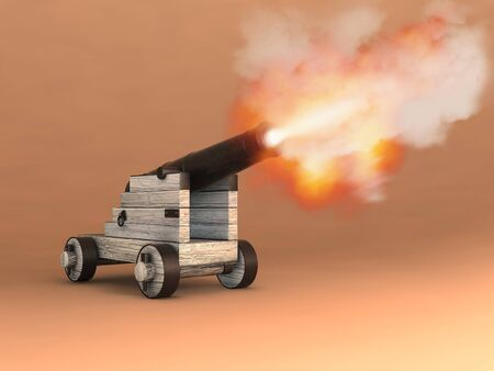 3d illustration of an old cannon firing