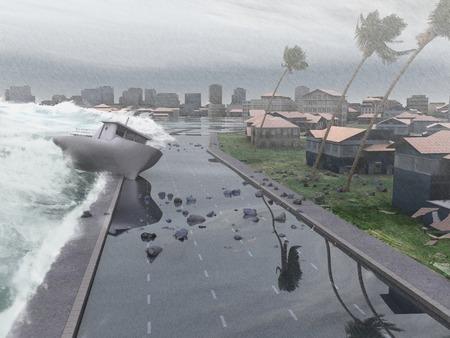 都市を打つハリケーン 写真素材